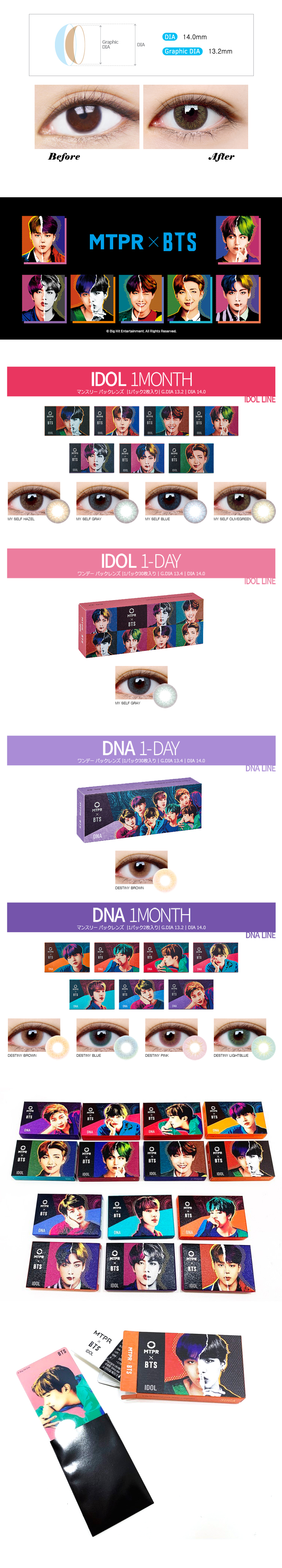 [1ヶ月] BTS IDOL マイセルフ マンスリー (BTS IDOL 1MONTH MY SELF OLIVEGREEN) DIA 14.0mm [1箱2枚]